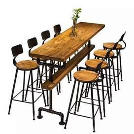 Industrial style metal bar chairs and tables. Call House of chairs