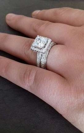 SOLID STERLING SILVER 1.30 Carat Vintage Style Wedding ring set