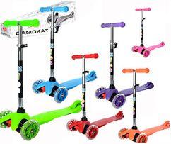 Детский трехколесный самокат со светящимися колесами