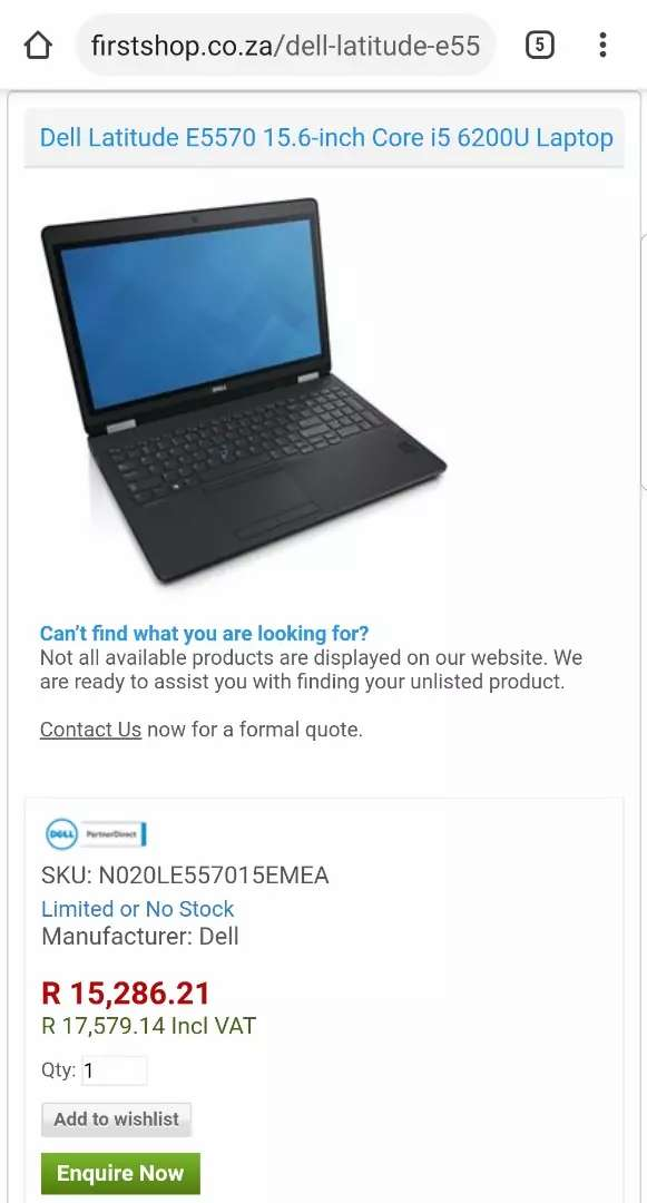 NEW DELL LATITUDE E5570 INTEL CORE I5 6TH GENERATION 0