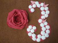 Цифра 3, квітка з гофропаперу