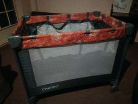 Red camping cot