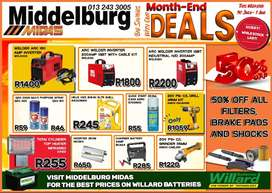 Big Savings with our Month-End Deals this weekend at Middelburg Midas