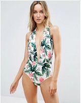 Nowy strój kąpielowy otwarte plecy 36 S 38 M floral liście kwiaty wzór