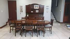 Solid wood antique 8 seater dinner table and buffet set