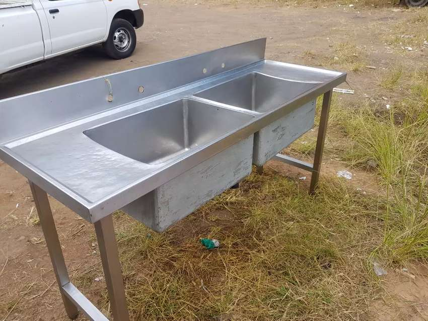 Stainless steel double bowl sink 2nd hand 0