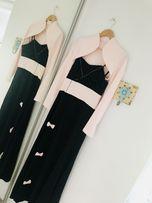 Długa czarna sukienka na ramiączkach WESELE/STUDNIÓWKA