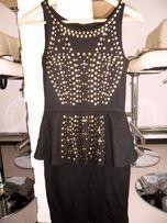 Sukienka z baskinką, złote nity