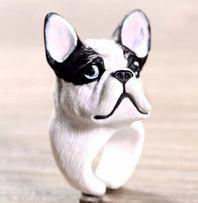 Pierscionek buldog pies 3D nowy rewelacyjny