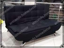 New black fabric sleeper couch