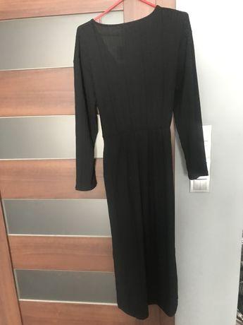 Długa czarna wiązana w pasie prążkowana sukienka Bershka Sukienka maxi Stary Kisielin - image 3