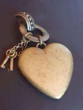 ANTIQUE BRONZE  SOLID HEART PENDANT WITH BALL AND CHARMS