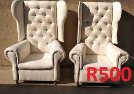Second hand wedding decor chairs & tables.