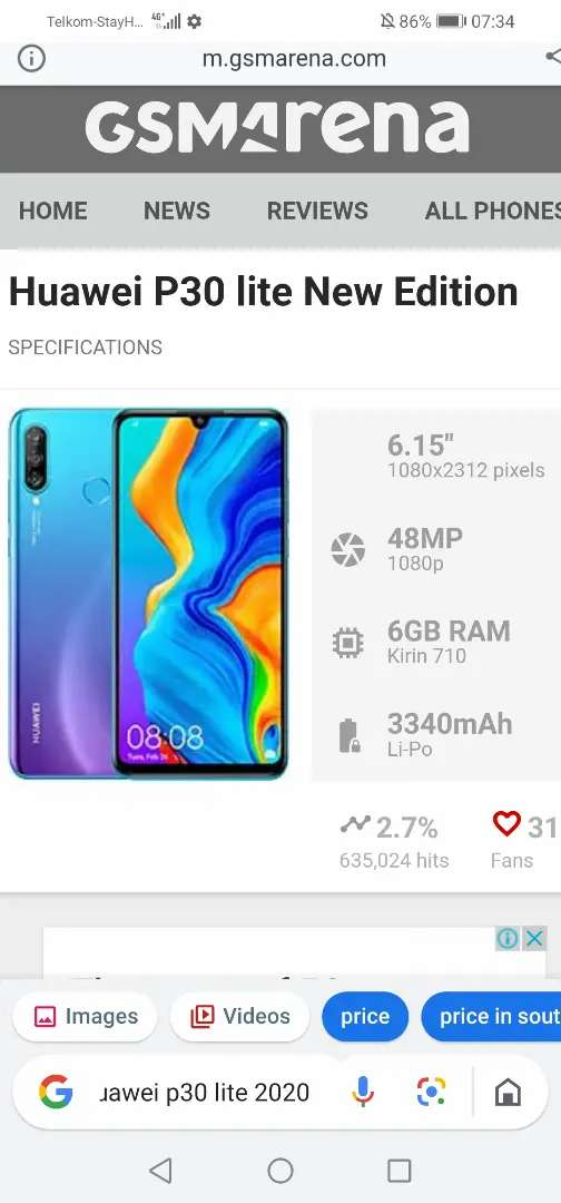 Huawei p30 lite 2020 new edition as new for sale or swop 0