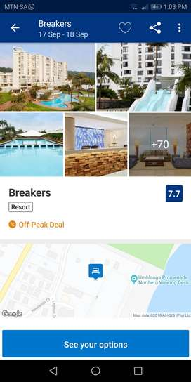 Breakers umslanga for 4 adults and 2 children