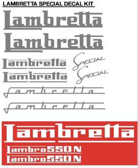 Graphics decals stickers kit for a Lambretta scooter.