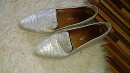 Skórzane srebrne buty roz 39