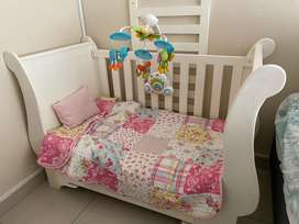 Sleigh cot and Graco Pram for sale