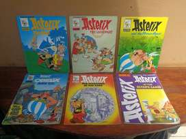 Collection of 6 old Asterix comic books.