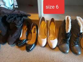 7 pairs ladies high heels and boots