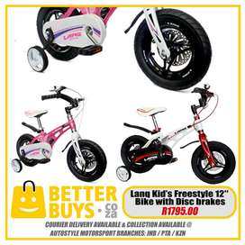 Lanq Kid's Freestyle 12 Inch Bike Boys and Girls with Disc brakes