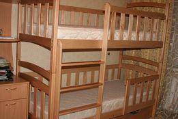 Детская двухэтажная-двухярусная кровать-трансформер с дерева кроватка