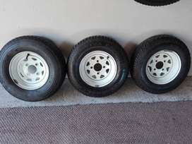 3 Trailer Rims with New Tyres