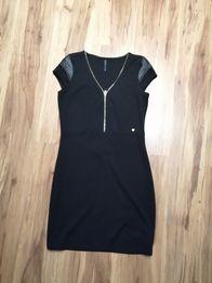 Sukienka mała czarna mini cropp skóra M krótka zamek obcisla