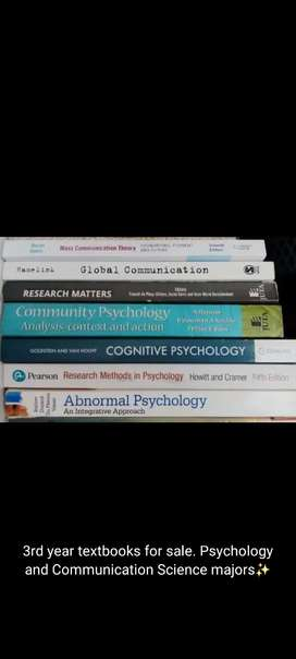 THIRD YEAR PSYCHOLOGY AND COMMUNICATION SCIENCE TEXTBOOKS FOR SALE