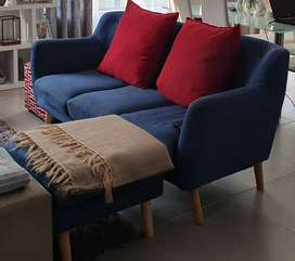 Blue Fabric L Couch (3 seater)