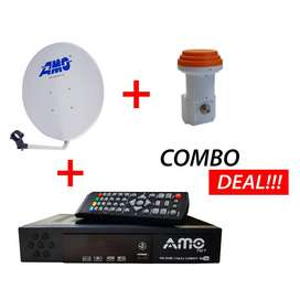 AMO Combo Digital TV Decoder DVB T2 + S2 with a Satellite Dish & LNB