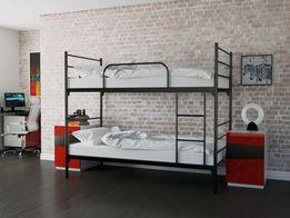Łóżko metalowe piętrowe czarne 80x200