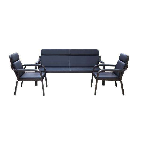 OFFICE SOFA 5 SEATER NORRIS BLACK LEATHER (3+1+1) 0
