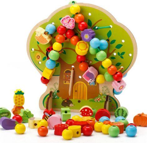 Шнуровка, деревянная развивающая игрушка Запорожье - изображение 1