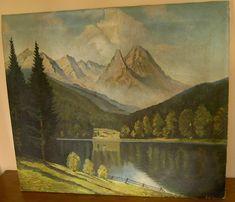 Stary obraz olejny na płótnie ze strychu krajobraz