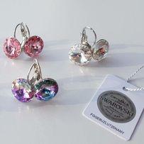 Много цветов Swarovski сережки серьги круглые подарок девушке женщине