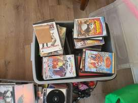 Box of CDs and box of DVDs