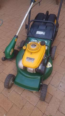 Petrol lawn mower and weed eater
