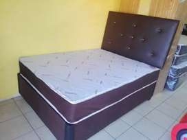Double bamboo bed with headboard