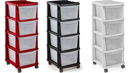 Praktyczny plastikowy REGAŁ na kółkach Czarny, Szafka 3 lub 4 szuflady