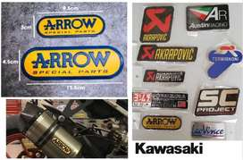 Kawasaki Arrow aluminium exhaust silencer badge decal emblem