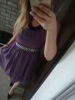 sukienka fioletowa szyfonowa na jedno ramię z kamieniami Bon Prix 36 S