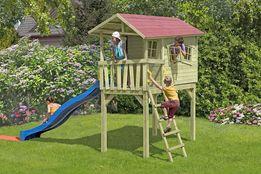 ZAKRĘCONY Drewniany Domek Na Nóżkach Plac Zabaw Ślizg Gont Gratisy