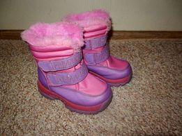 Зимние детские сапоги 23-24р. сапожки на девочку розовые фиолетовые