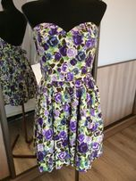 Sukienka w kwiaty h&m baby doll, kokarda roz. s