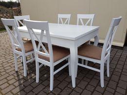 Zestaw prowansalski nowoczesny-stół +6 krzeseł Krzyż biały PRODUCENT