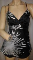 Bluzka top Vero Moda r. 38/M, ramiączka, srebrny/czarny, rozcięcie tył