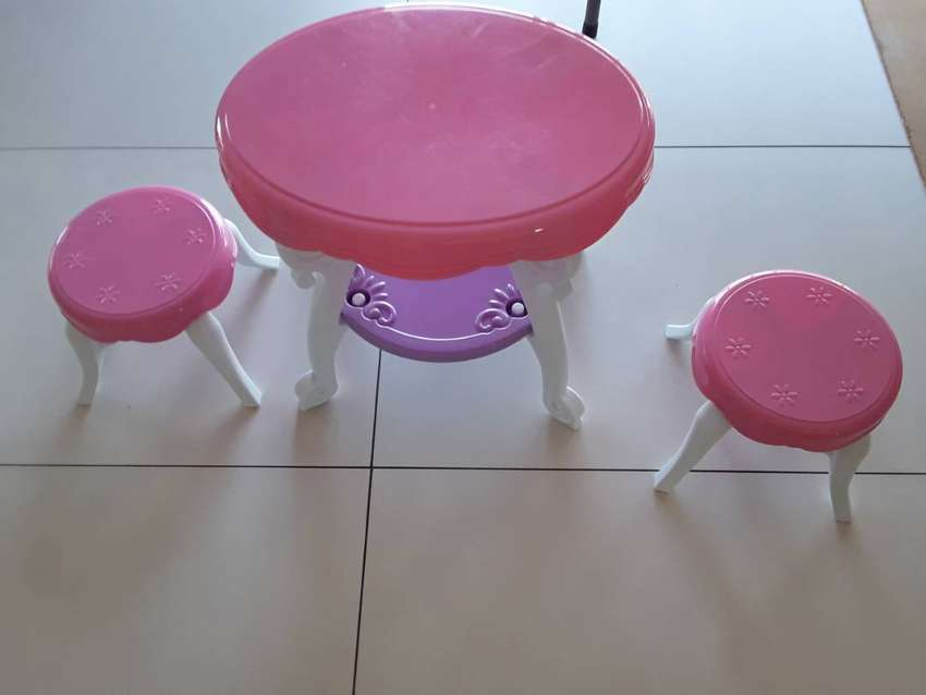 Toddler pink & purple  table and 2 chairs