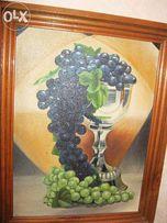 "Картина холст,масло ""Виноград в серебряной чаше"""