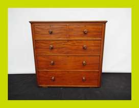 Large Victorian Mahogany Five Draw Chest of Drawers - SKU 440